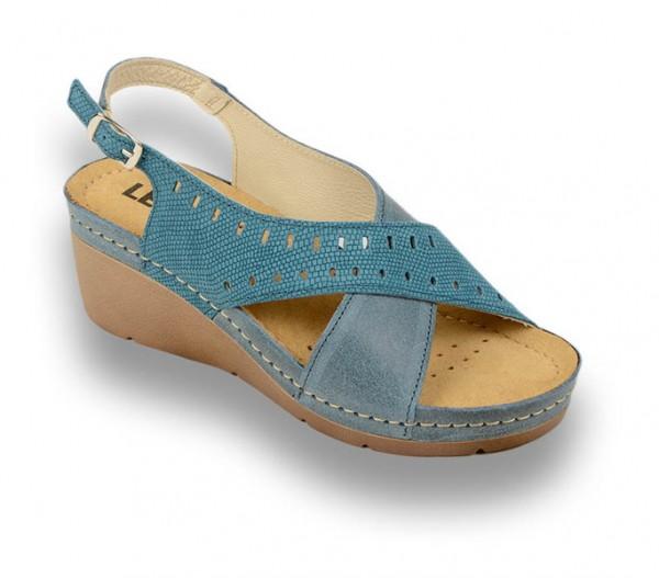 Sandale ortopedice pentru dame cu platforma Leon 1030 Albastru
