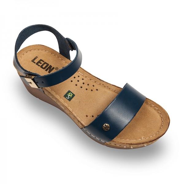 Sandale ortopedice pentru dame cu platforma Leon 1015 Albastru