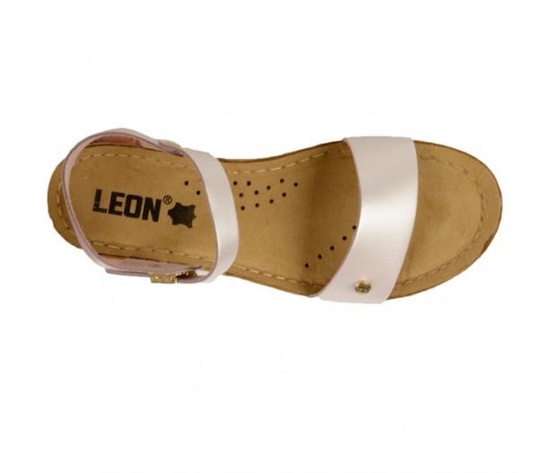 Sandale ortopedice pentru dame cu platforma Leon 1015 Perla