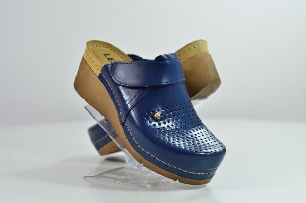 Saboti ortopedici pentru dame cu platforma Leon 1001 Albastru