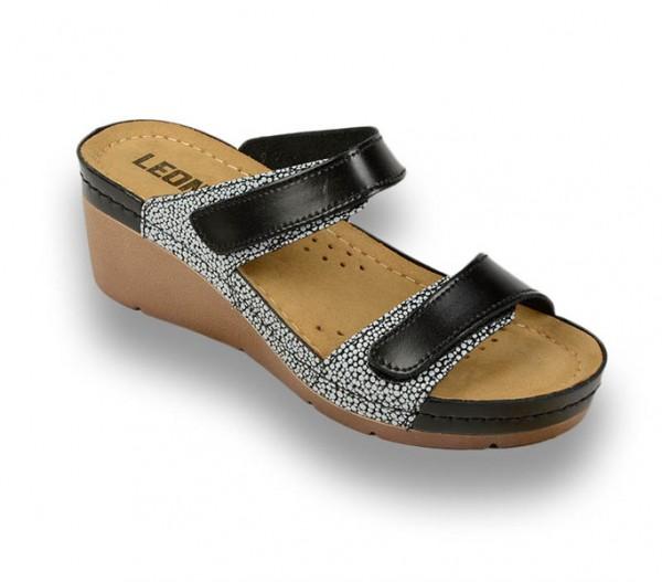 Sandale ortopedice pentru dame cu platforma Leon 1040 Negru