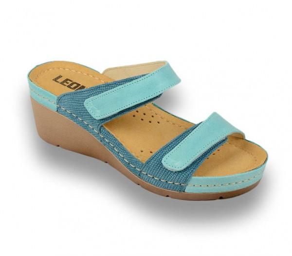 Sandale ortopedice pentru dame cu platforma Leon 1040 Turcoaz