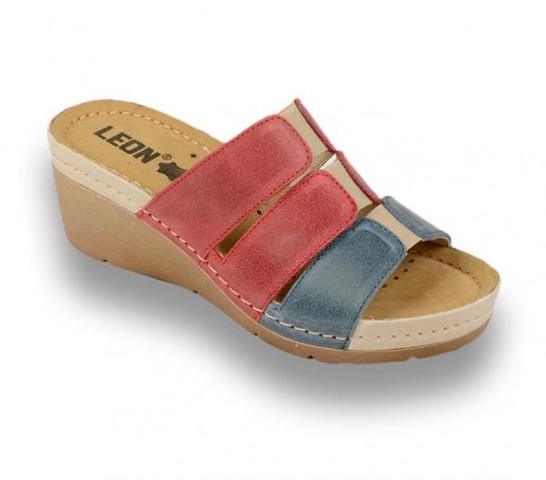 Sandale ortopedice pentru dame cu platforma Leon 1009 Rosu cu Albastru