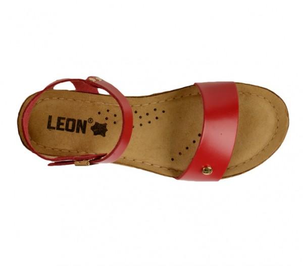 Sandale ortopedice pentru dame cu platforma Leon 1015 Rosu
