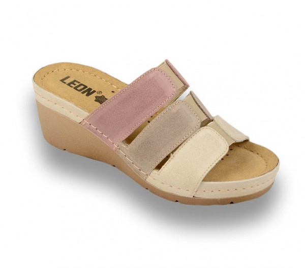 Sandale ortopedice pentru dame cu platforma Leon 1009 Rose cu Bej
