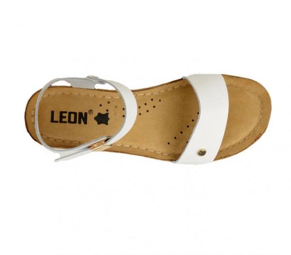 Sandale ortopedice pentru dame cu platforma Leon 1015 Alb